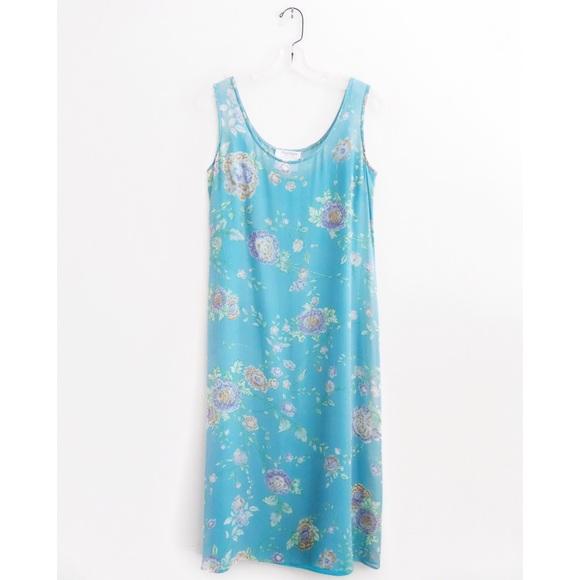 MaxMara Dresses & Skirts - Max Mara Cyan Blue Floral Silk Shift Midi Dress 6